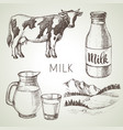 Hand drawn sketch milk products set black and