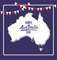 happy australia day poster with white frame and vector image vector image