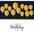 happy birthday golden balloons background vector image