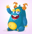 Happy cartoon monster Halloween horned fat monster vector image vector image