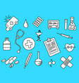 healthcare doodle black and white with blue vector image