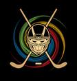 hockey helmet front view graphic vector image vector image