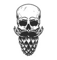 human skull with beard made from beer hop vector image vector image