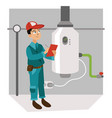inspector with checklist examines heating system vector image