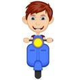 Little boy riding a scooter cartoon vector image vector image