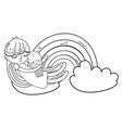 little girl with ice cream kawaii character vector image