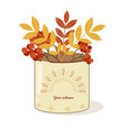 mug with flowers berries and leaves vector image vector image
