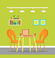pizzeria interior table and chairs served food vector image vector image