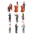political conference icon set isometric style vector image vector image