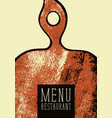 restaurant menu with wooden cutting board vector image vector image