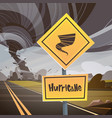 road sign warning about tornado twister hurricane vector image vector image