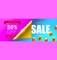 sale fifty percent discount banner with bended vector image vector image