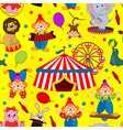 seamless pattern circus with clown and animals vector image vector image
