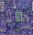 seamless pattern town house vector image
