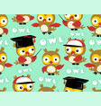 seamless pattern with cute owl cartoon vector image