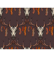 seamless texture deer skull with horns feathers vector image vector image