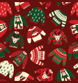 seamless ugly christmas sweaters pattern vector image