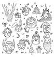 set cute cartoon christmas characters vector image vector image