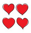 set hand drawn hearts design elements vector image vector image