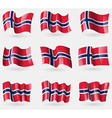 Set of Norway flags in the air vector image
