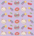 set stickers kawaii pattern background vector image