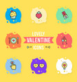 set valentines day objects and icon vector image vector image