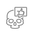 skull with thumb up in speech bubble line icon vector image vector image