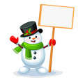 snowman with blank sign board with space vector image vector image