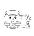 strawberry jam pot and bread kawaii character vector image vector image