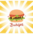 street food lettering with burger and rays vector image vector image