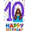 tenth birthday cartoon design vector image