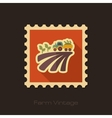 Tractor on field harvest seedling retro flat stamp vector image vector image