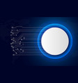 white technology circle button on blue abstract vector image