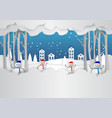 winter season with snowflake and snowman in town vector image vector image