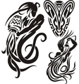 Zodiac Signs - aquarius Vinyl-ready set vector image vector image