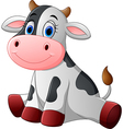 Cute baby cow cartoon sitting vector image