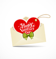 Envelope red heart and green ribbon valentine day vector image