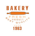 bakery fresh product best quality estd 1963 logo vector image vector image