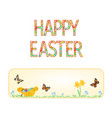 banner happy easter wicker basket with easter egg vector image vector image