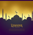 beautiful mosque on golden background ramadan vector image vector image