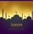 beautiful mosque on golden background ramadan vector image vector image