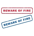 Beware Of Fire Rubber Stamps vector image vector image