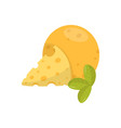 big cheese ball with triangle slice and green vector image
