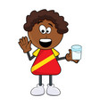 black african boy cartoon with milk design vector image