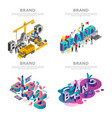 brand banner set isometric style vector image vector image