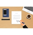 Businessman is signing a contract vector image vector image