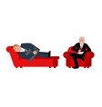 businessman with psychologist consultation of vector image