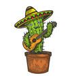 cactus guitar and sombrero sketch engraving vector image vector image