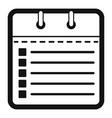 calendar list icon simple black style vector image
