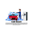 carwash service icon with worker cleaning vehicle vector image